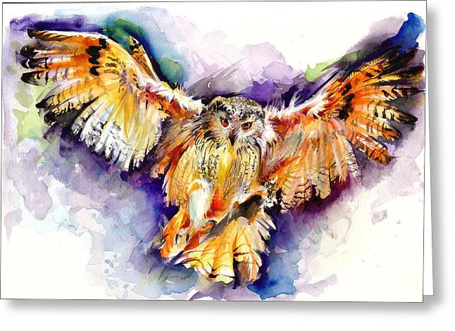 Flying Witch Greeting Cards - Night Owl Watercolor Greeting Card by Tiberiu Soos