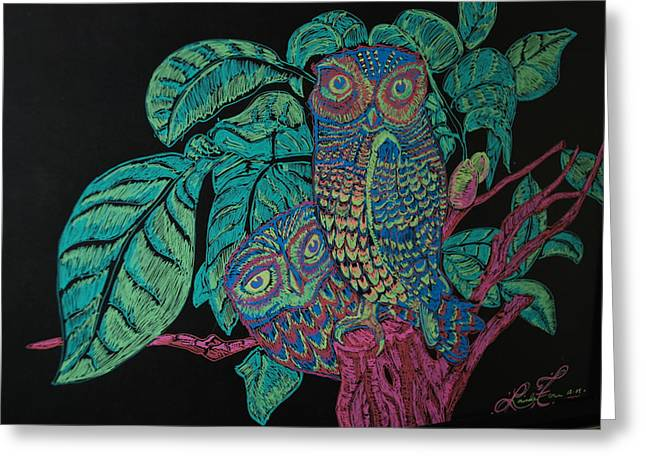 Night Owls Greeting Card by Lorinda Fore