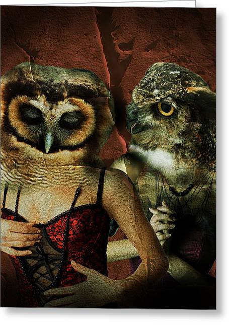 Bustier Greeting Cards - Night owls  Greeting Card by Nathan Wright