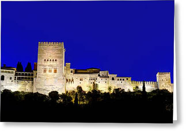 Medieval Temple Greeting Cards - Night Panorama during blue hour of the famous Alhambra palace Granada Andalusia Spain Greeting Card by David Herraez