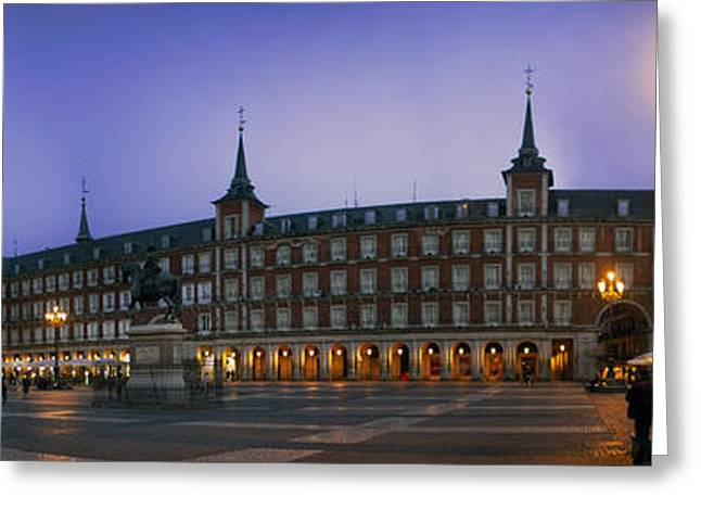 Historic Statue Greeting Cards - Night Panorama of Plaza Mayor Greeting Card by George Oze