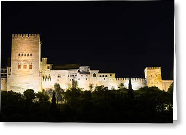 Medieval Temple Greeting Cards - Night Panorama of the famous Alhambra palace Granada Andalusia Spain Greeting Card by David Herraez