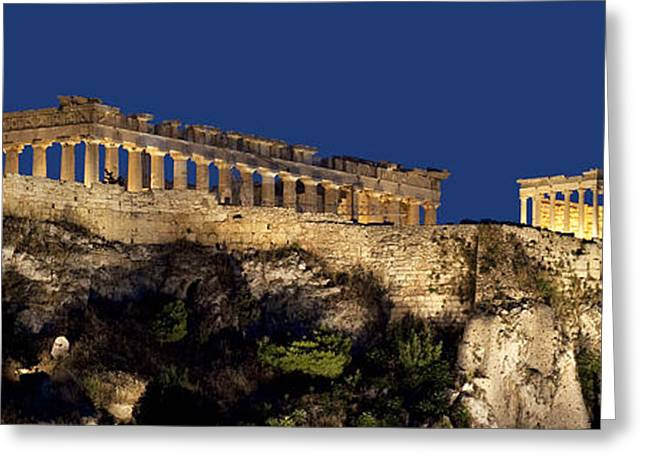 Night Panoramic View Of Acropolis Greeting Card by Baltzgar