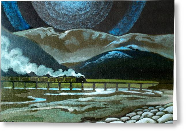 Aotearoa Greeting Cards - Night Passage - WW480 Steam Greeting Card by Patricia Howitt
