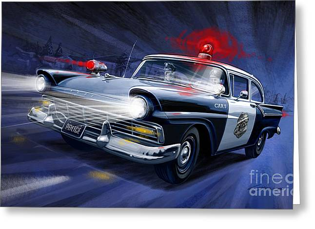 Recently Sold -  - Crime Fighter Greeting Cards - Night Patrol Greeting Card by Sean Svendsen