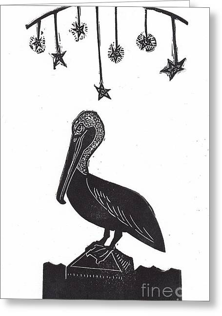 Block Print Art Mixed Media Greeting Cards - Night Pelican Greeting Card by Coralette Damme