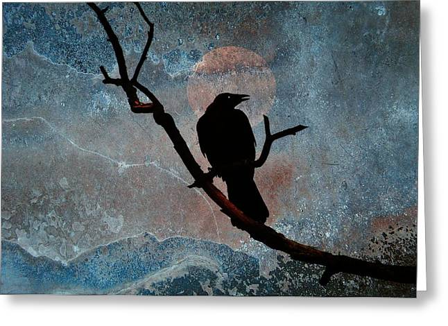 Bird On Tree Digital Greeting Cards - Night Perch Greeting Card by Gothicolors Donna Snyder