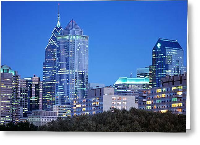Pa Greeting Cards - Night, Philadelphia, Pennsylvania, Usa Greeting Card by Panoramic Images