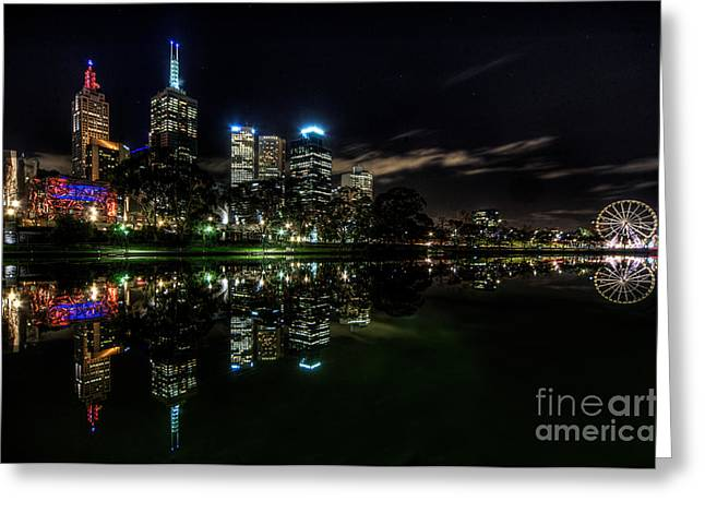 Night Cafe Greeting Cards - Night Reflections I Greeting Card by Ray Warren