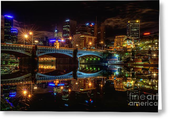 Night Cafe Greeting Cards - Night Reflections II Greeting Card by Ray Warren