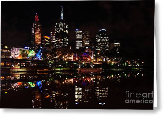 Night Cafe Greeting Cards - Night Reflections III Greeting Card by Ray Warren