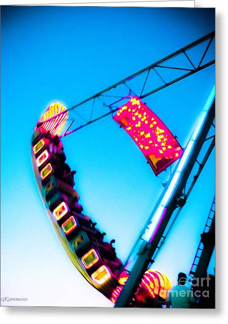 Amusement Ride Greeting Cards - Night Ride Greeting Card by Colleen Kammerer