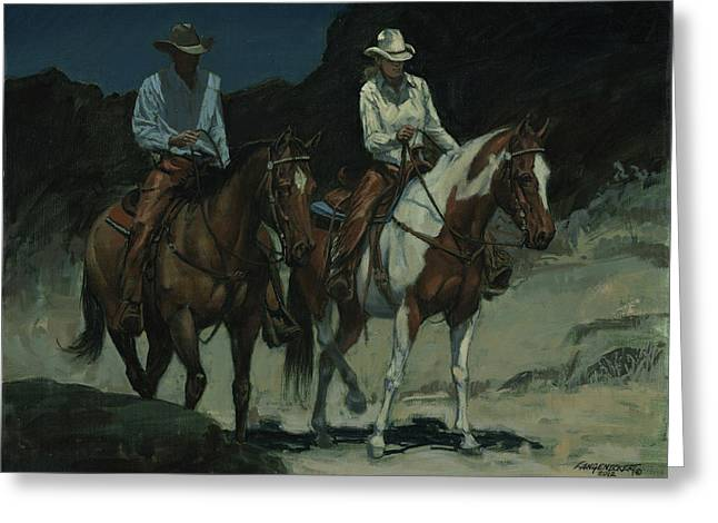 Trail Ride Greeting Cards - Night Ride Greeting Card by Don  Langeneckert