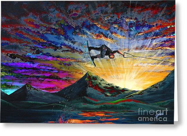 Surfer Greeting Cards - Night Ride Greeting Card by Teshia Art