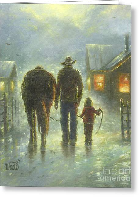 Vickie Wade Paintings Greeting Cards - Night Ride Greeting Card by Vickie Wade