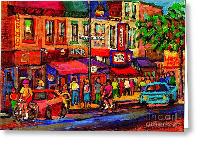 Montreal Diners Greeting Cards - Night Riders On The Boulevard Rue St Laurent And Napoleon Deli Schwartz Montreal Midnight City Scene Greeting Card by Carole Spandau