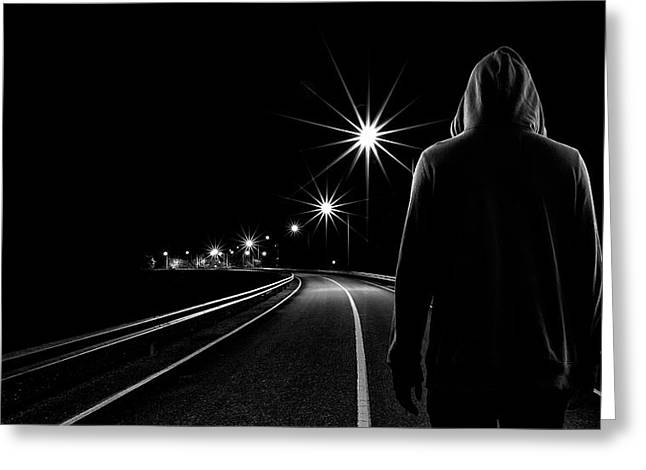 Night Road Greeting Card by Patrick Foto