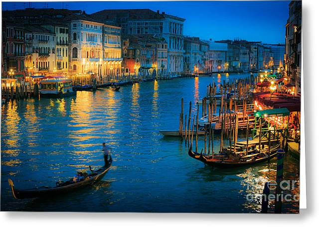 Canal Grande Greeting Cards - Night romance Greeting Card by Inge Johnsson