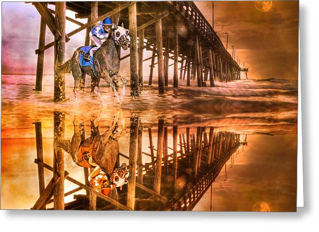 Riding Boots Digital Art Greeting Cards - Night Run III Patriotic  Greeting Card by Betsy A  Cutler