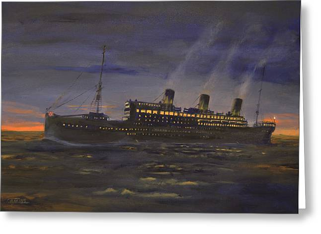Queen Mary Paintings Greeting Cards - Night Running Greeting Card by Christopher Jenkins