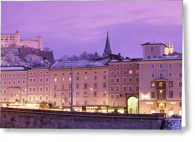 Winter Night Greeting Cards - Night Salzburg Austria Greeting Card by Panoramic Images