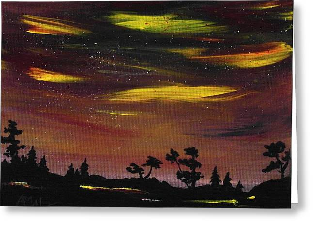 Rural Greeting Cards - Night Scene Greeting Card by Anastasiya Malakhova