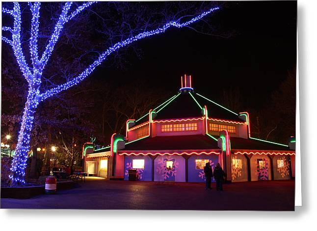 Kennywood Park Greeting Cards - Night Scene at Kennywood Park Greeting Card by Bob Semk