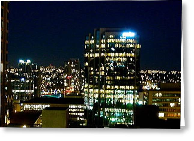Vancouver At Night Greeting Cards - Night Scene Greeting Card by Brad Gravelle