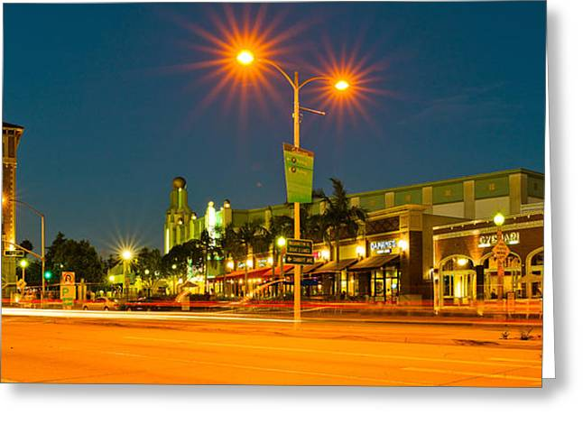 Night Scenes Greeting Cards - Night Scene Culver City, Los Angeles Greeting Card by Panoramic Images