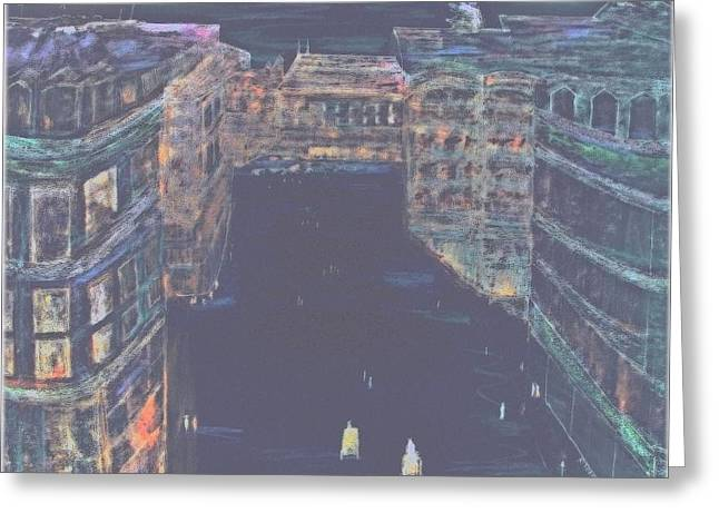 Night Scenes Pastels Greeting Cards - Night-scene Paris Rooftop   Greeting Card by Rick Todaro