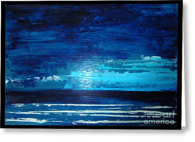 Contemporary Night Scape Greeting Cards - Night Sea Greeting Card by Cathy Peterson