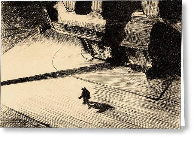 Night Scenes Greeting Cards - Night Shadows Greeting Card by Edward Hopper