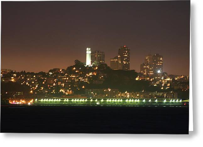 Treasures Pyrography Greeting Cards - Night Shot Coit Tower San Francisco California Greeting Card by DUG Harpster