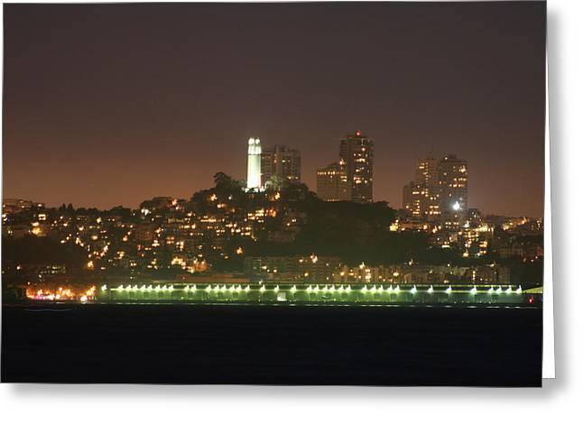 San Francisco Pyrography Greeting Cards - Night Shot Coit Tower San Francisco California Greeting Card by DUG Harpster