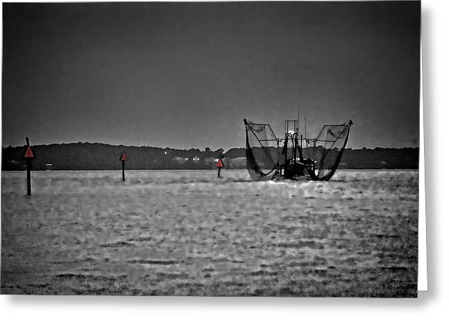 Crimson Tide Greeting Cards - Night Shrimping in BW and Color Greeting Card by Michael Thomas