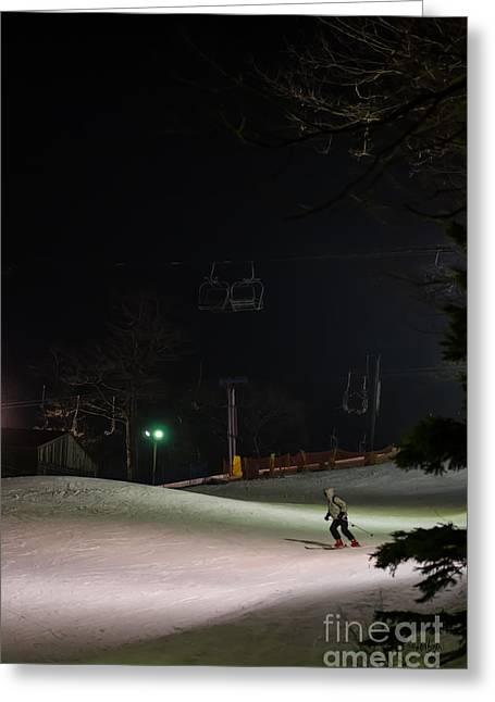 Ski Lift Greeting Cards - Night Skiing Greeting Card by Lois Bryan