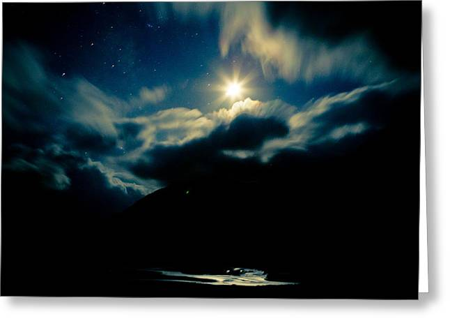 Moonlit Night Greeting Cards - Night sky and moon Himalyan Greeting Card by Raimond Klavins
