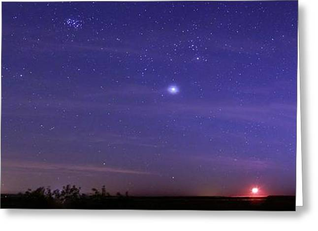 Night Sky And Setting Moon Greeting Card by Luis Argerich