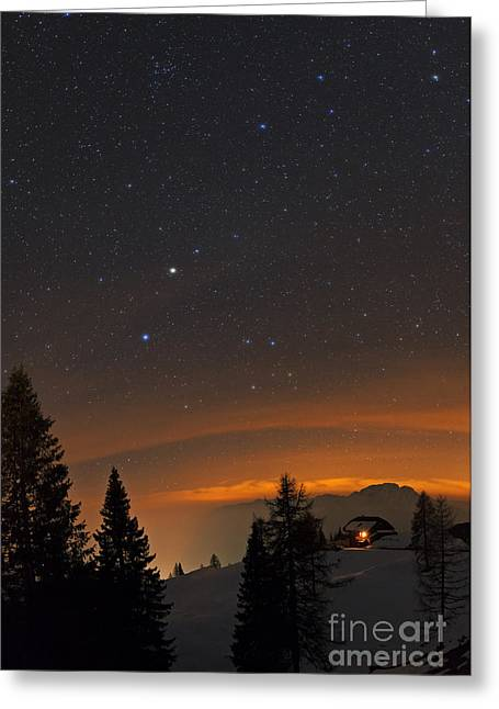 Snowy Night Night Greeting Cards - Night Sky, Carinthia, Austria Greeting Card by Babak Tafreshi