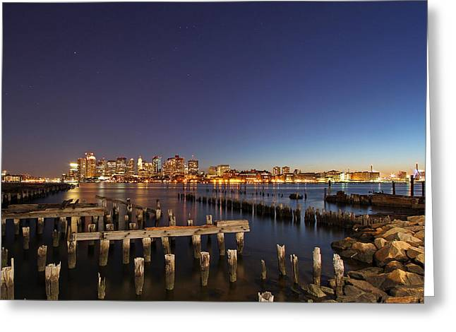 Custom House Tower Greeting Cards - Night Sky Hunter Orion over Boston  Greeting Card by Juergen Roth