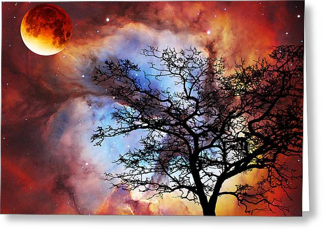 Surreal Fantasy Trees Landscape Greeting Cards - Night Sky Landscape Art By Sharon Cummings Greeting Card by Sharon Cummings
