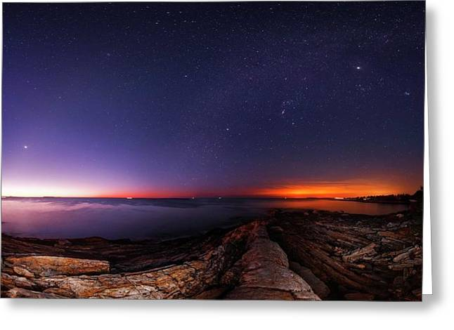 Night Sky Over An Atlantic Coastline Greeting Card by Babak Tafreshi