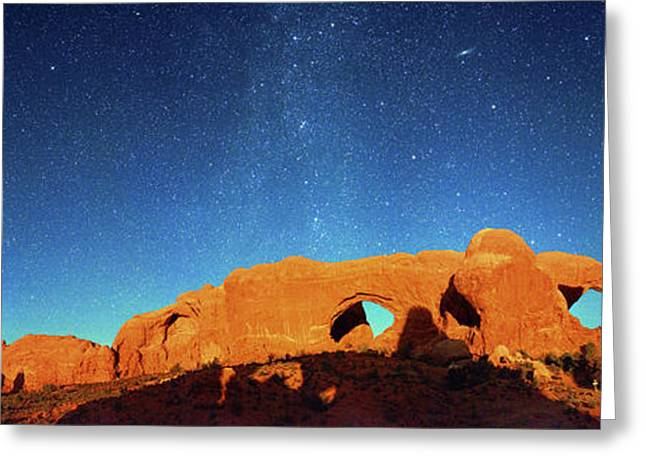 Night Sky Over Arches National Park Greeting Card by Walter Pacholka, Astropics