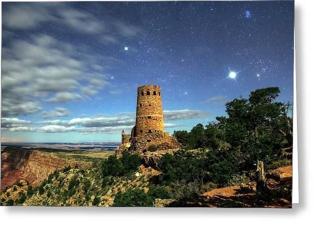 Night Sky Over Grand Canyon Watchtower Greeting Card by Babak Tafreshi