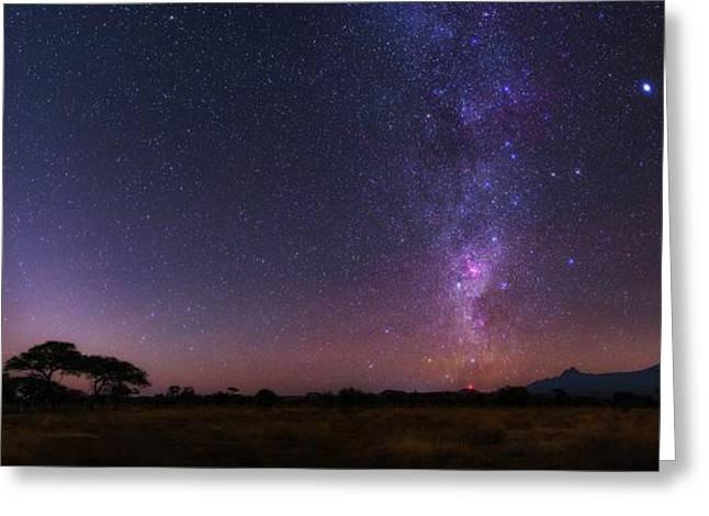 Night Sky Over Mount Kilimanjaro Greeting Card by Babak Tafreshi