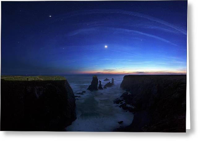 Night Sky Over Port Coton Needles Greeting Card by Laurent Laveder
