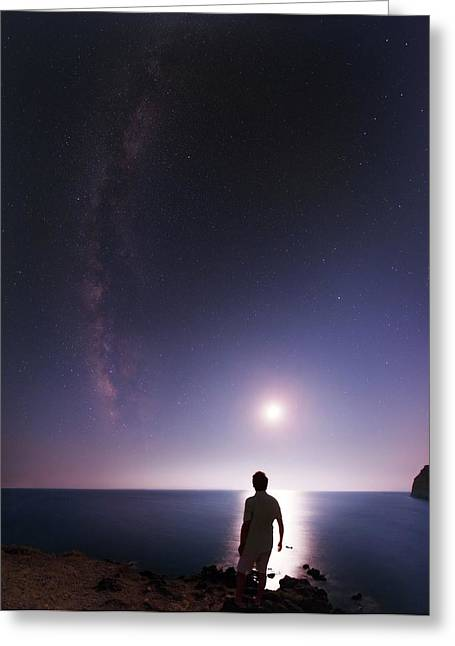 Night Sky Over The Mediterranean Sea Greeting Card by Babak Tafreshi