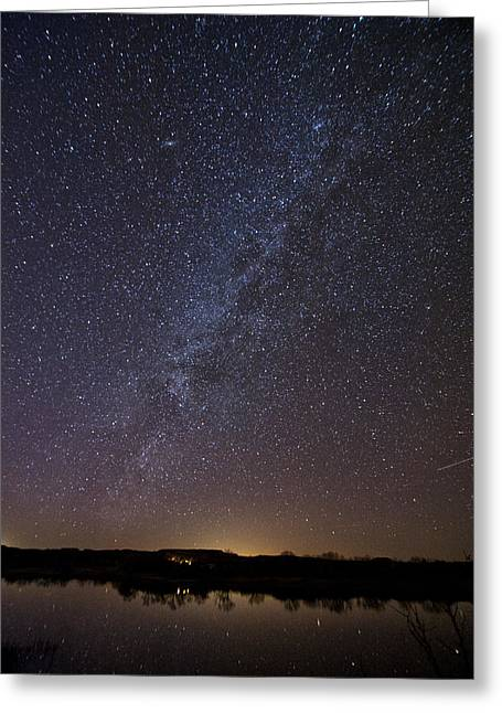 Best Sellers Greeting Cards - Night Sky Reflected in Lake Greeting Card by Melany Sarafis