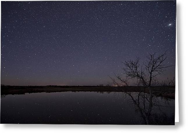 Mancave Photos Greeting Cards - Night Sky Reflection Greeting Card by Melany Sarafis