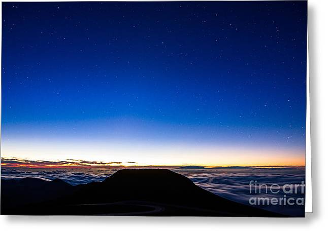 Above The Clouds Greeting Cards - Night Sky - summit of Haleakala Volcano in Maui Greeting Card by Jamie Pham